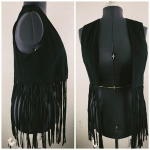Suede Leather Fringe Vest